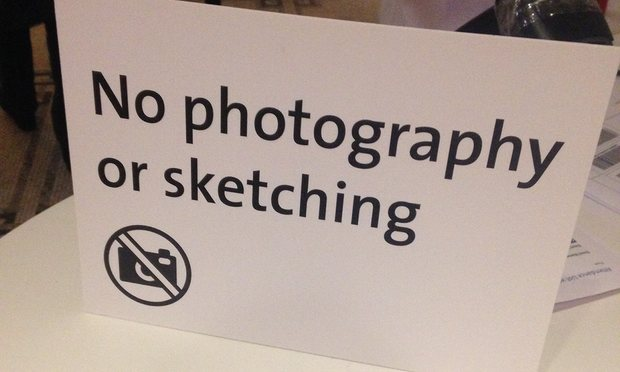 Figure 3 'No photography or sketching' sign in the Victoria and Albert's new exhibition, 'Undressed: A Brief History of Underwear,' Photograph by Oliver Wainwright/Guardian, accessed: 22 April 2016.