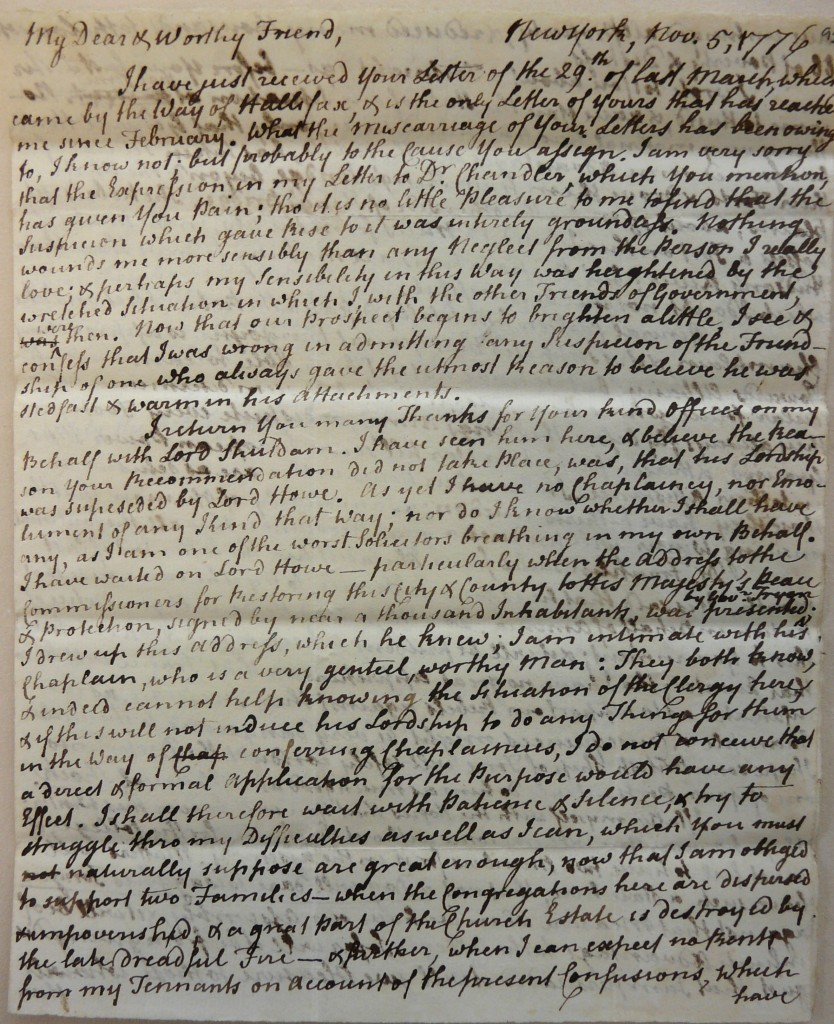 Figure 1 Letter to British Loyalist, Myles Cooper, a prominent Loyalist in New York during the American Revolutionary period from 1763-1785, available on The National Library of Scotland's Flickr stream, accessed: 25 April 2016.