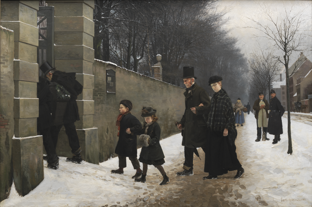Figure 1 Frants Henningsen, A Funeral, 1883. 95x141,5 cm. kms1218; This digital surrogate is in the public domain and has been made available by The National Gallery of Denmark ‒ Statens Museum for Kunst