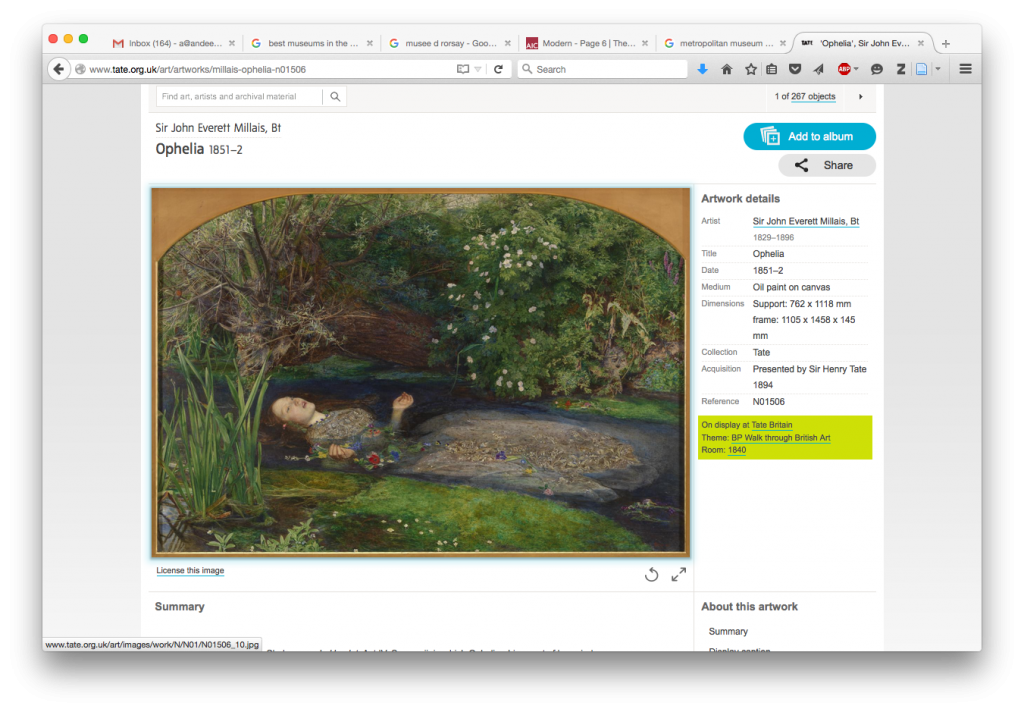 Figure 4: Tate webpage for 'Ophelia' (version accessed: 30 October 2015)