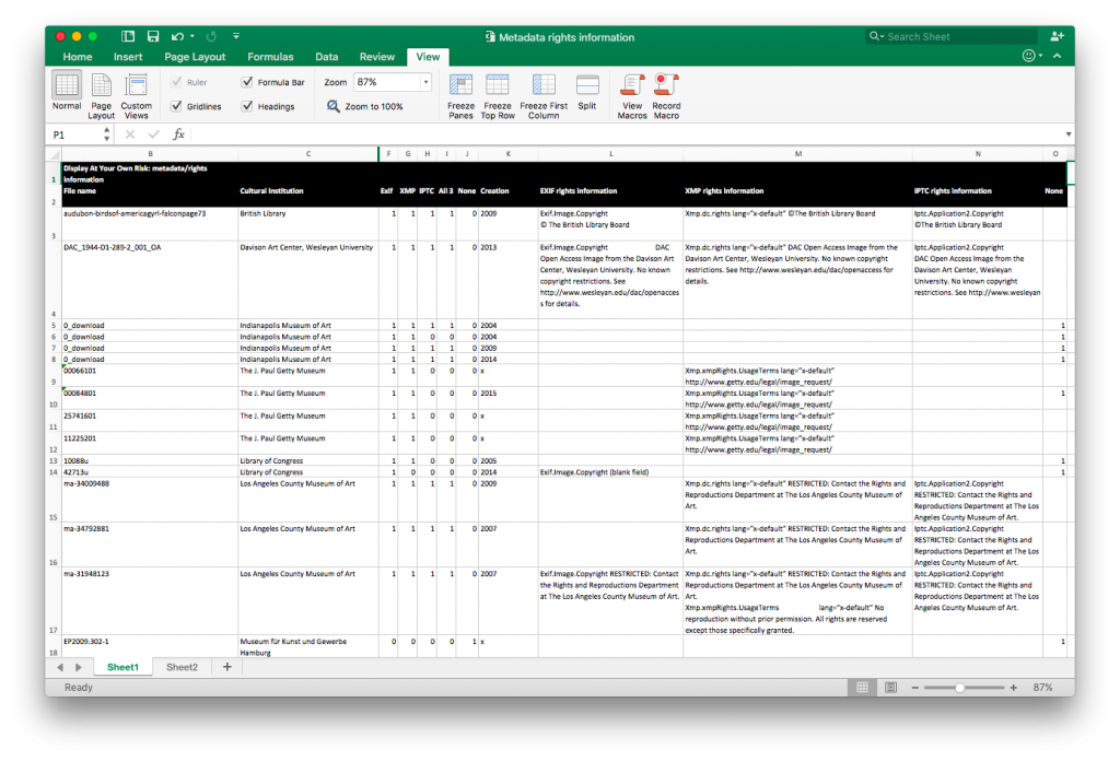 Figure 14 'Metadata Rights Information' spreadsheet, available in the 'Research Files' folder of the open source exhibition file