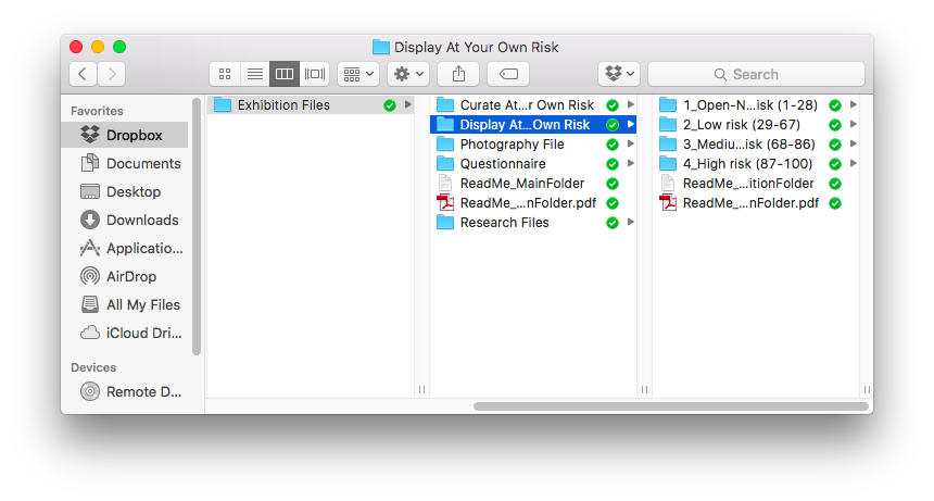 Figure 16 Screenshot of the open source exhibition file folder contents