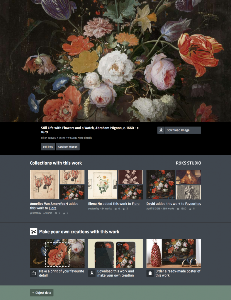Figure 8 Rijksmuseum, 'Still Life with Flowers and a Watch, Abraham Mignon: Object data' (version accessed: 16 April 2016)