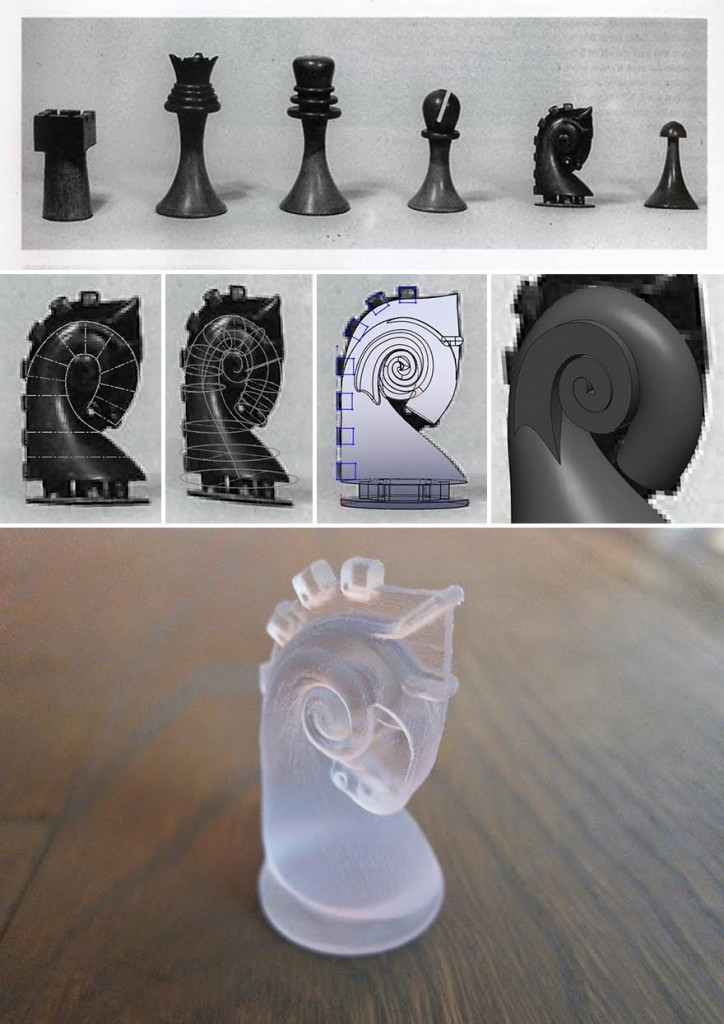 Figure 4 Duchamp original chess set (top), process image and final 3D print from the artists (middle, bottom), footnote 15.